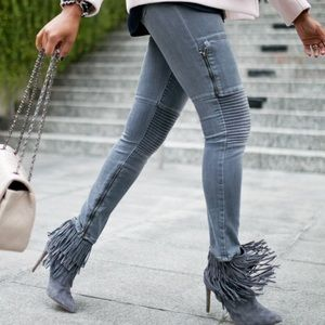 PAIGE Moto Jeans in Gray